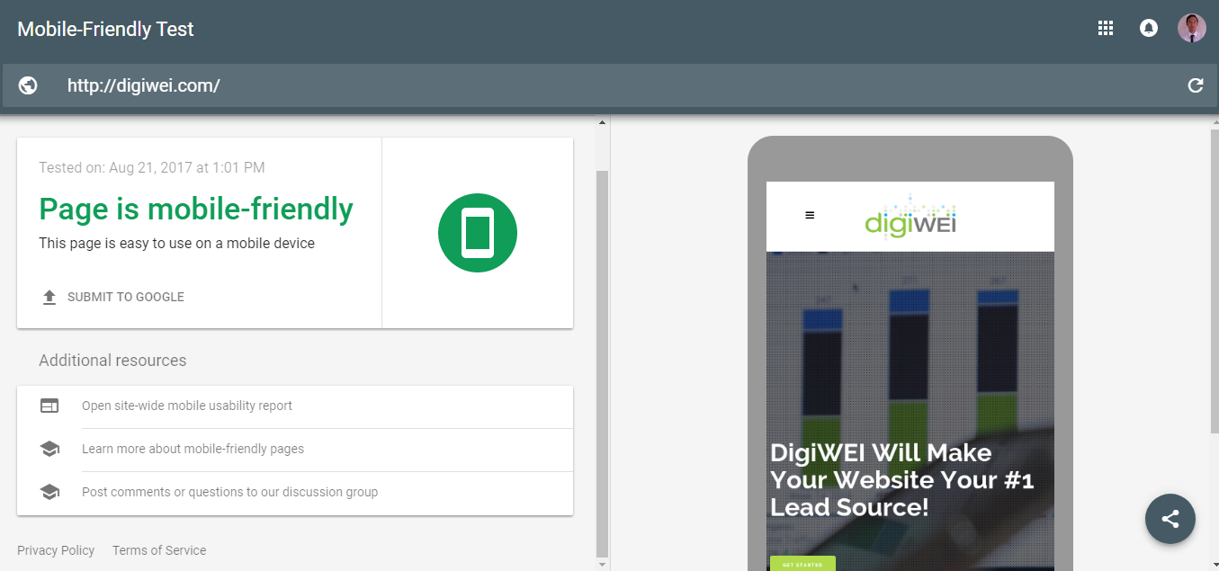 Google Mobile Friendly Website Test
